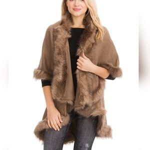 NEW LUXURY Natural Taupe Faux Fur Tiered Cape Coat